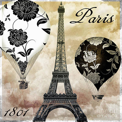 Paris Painting - Ceil Jaune Vintage Air Balloons by Mindy Sommers