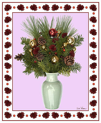 Hand Thrown Pottery Digital Art - Celadon Vase With Christmas Bouquet by Lise Winne