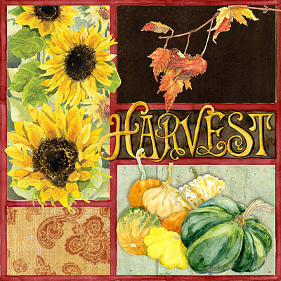 Celebrate Abundance - Harvest Fall Leaves Squash N Sunflowers W Paisleys Print by Audrey Jeanne Roberts