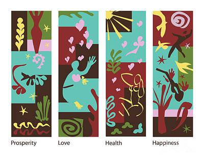 Celebrate Life 4 Panels Original by Xueling Zou