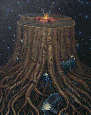 Stary Sky Painting - Celebration At Big Stump by Marjorie Hause