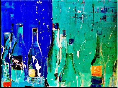 Wine Painting - Celebration Blues by Lisa Kaiser