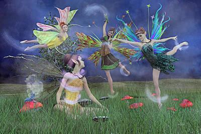 Mushroom Digital Art - Celebration Of Night Alice And Oz by Betsy Knapp
