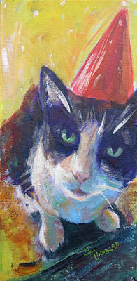 Domestic Short Hair Cat Painting - Celebration by Sandy Lindblad