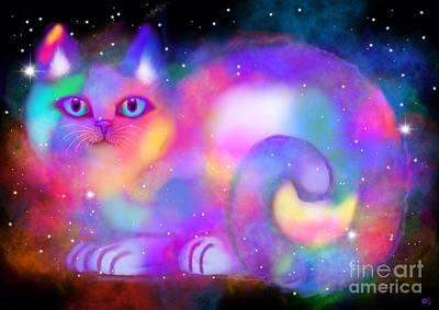 Pets Art Digital Art - Celestial Rainbow Cat by Nick Gustafson