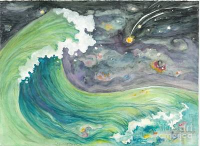 Painting - Celestial Sky And  Big Wave by Lynn Maverick Denzer