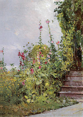 Grey Clouds Photograph - Celia Thaxters Garden by Childe Hassam