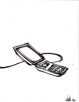 Electronic Drawing - Cell Phone by Levi Glassrock