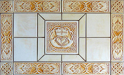 Ceramic Sculpture - Celtic Claddagh Ceramic Tile Set by Shannon Gresham