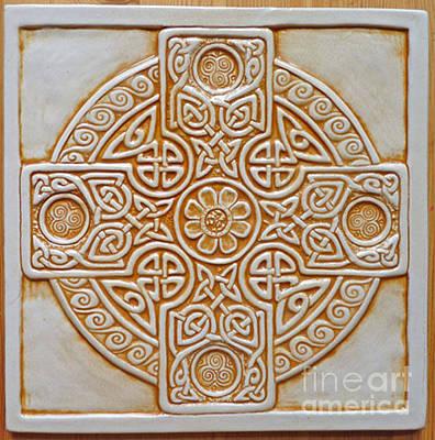 Ceramic Relief - Celtic Cross Tile by Shannon Gresham