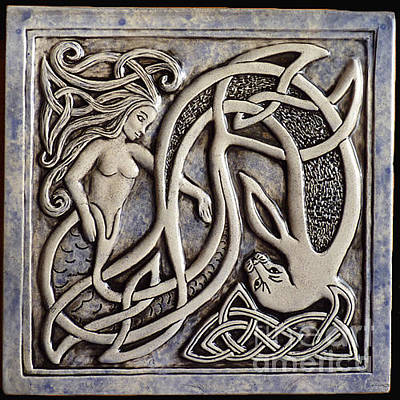 Ceramic Relief - Celtic Mermaid And Seal Tile by Shannon Gresham