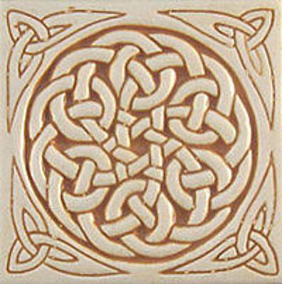 Ceramic Sculpture - Celtic Relief Carved Ceramic Art Tile by Shannon Gresham