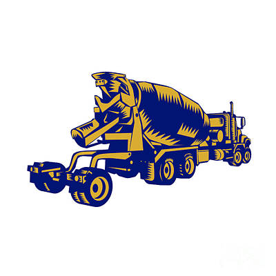 Cement Truck Rear Woodcut Print by Aloysius Patrimonio