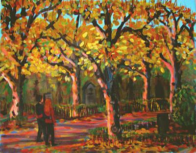 Cemetary In Autumn Print by Art Nomad Sandra  Hansen