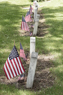 Cemetery Tombstones Marked With American Flags Print by James BO  Insogna