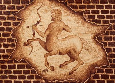 Pegasus Painting - Centaur Hunting Original Coffee Painting by Georgeta Blanaru