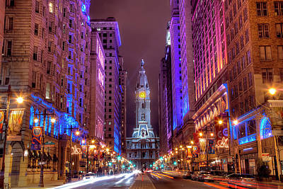 Illuminated Photograph - Center City Philadelphia by Eric Bowers Photo
