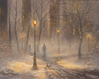 Winter Scene Painting - Central Park After Dark by Tom Shropshire