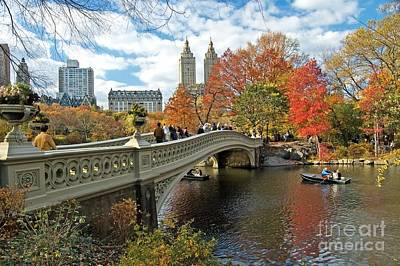 Central Park Autumn Cityscape Print by Allan Einhorn