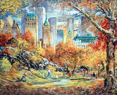 Park Scene Mixed Media - Central Park Fall by Kamil Kubik