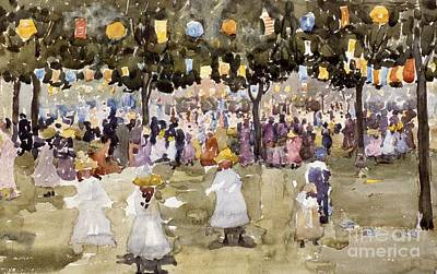 City Scenes Painting - Central Park  New York City  July Fourth  by Maurice Prendergast