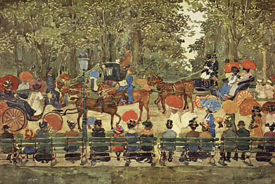 Watercolor Figure Painting - Central Park - New York by Maurice Prendergast