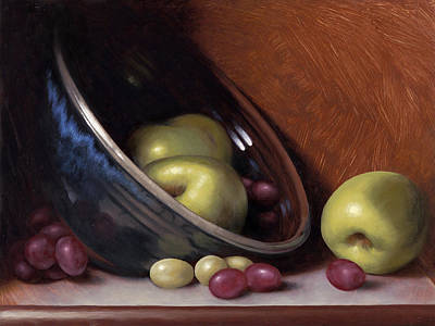 Hand Thrown Painting - Ceramic Bowl With Apples by Timothy Jones