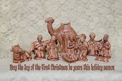 Joesph Photograph - Ceramic Nativity Scene by Linda Phelps