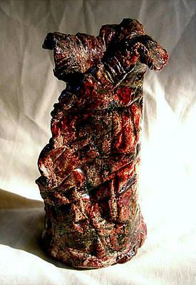 Raku Ceramic Art - Ceramic Red Vase by Madalena Lobao-Tello