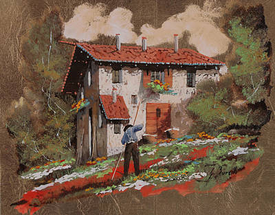 Workers Painting - Cercando Tra Le Foglie by Guido Borelli