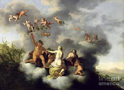 Vines Painting - Ceres Bacchus Venus And Cupid  by Cornelis van Poelenburgh