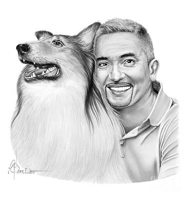 Famous People Drawing - Cesar Millan by Murphy Elliott