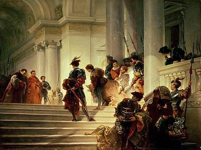The Church Painting - Cesare Borgia Leaving The Vatican by Giuseppe Lorenzo Gatteri