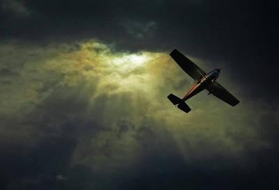 On The Move Photograph - Cessna 172 Airplane by photograph by Anastasiya Fursova