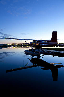 Float Plane Photograph - Cessna 180 And Its Reflection by Tim Grams
