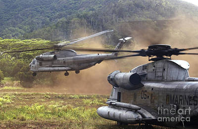 Barrack Photograph - Ch-53d Sea Stallion Helicopters Lift by Stocktrek Images