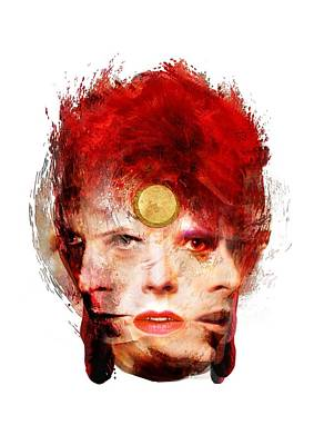 Abstract Mixed Media - Ch Ch Changes David Bowie Portrait by Big Fat Arts