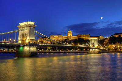 Photograph - Chain Bridge, Royal Palace And Danube River In Budapest, Hungary by Elena Duvernay