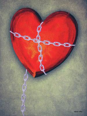 Chained Heart Print by Jeff Kolker