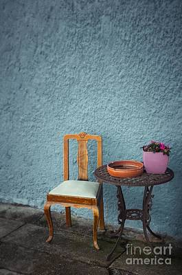 Chair And Iron Table Print by Carlos Caetano