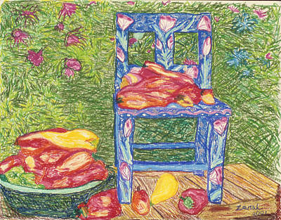 Blue Chair With Peppers Print by Lorin Zerah