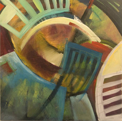 Ladder Back Chairs Painting - Chairs Around The Table by Tim Nyberg