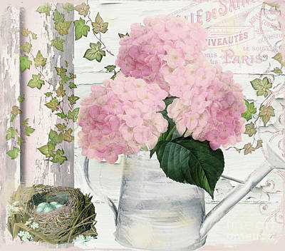 Chalet D'ete Hydrangea Print by Mindy Sommers