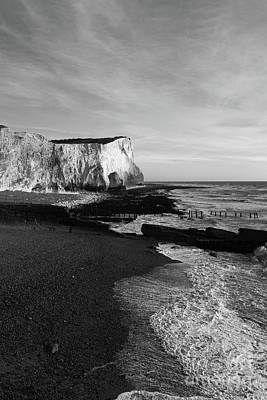 Chalk Cliffs At Seaford Head England Print by James Brunker