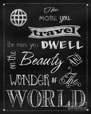 Wonders Of The World Painting - Chalk Travel Sentiment Blackboard Art by Tina Lavoie