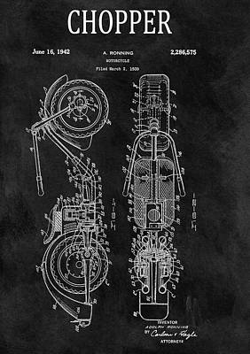 Motorcycle Mixed Media - Chalkboard Chopper Motorcycle Patent by Dan Sproul