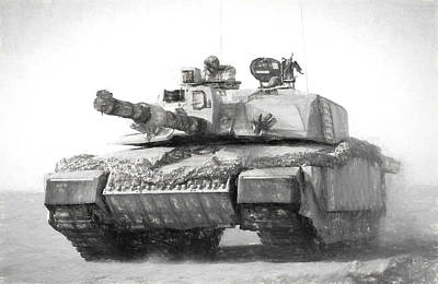Challenger Tank Drawing Print by Roy Pedersen