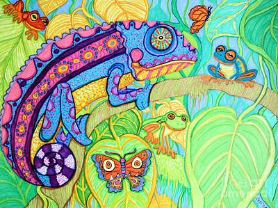 Amphibians Drawing - Chamelion And Rainforest Frogs by Nick Gustafson