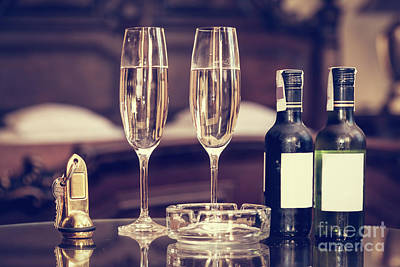 Wine Service Photograph - Champagne, Glasses, Antique Keys. Luxury Hotel Apartment, Room Service by Michal Bednarek