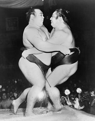 Champion Japanese Sumo Wrestlers Print by Everett